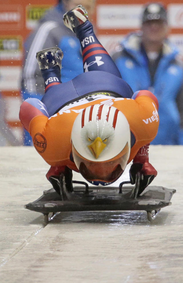 FILE - In this Feb. 16, 2013 file photo, Katie Uhlaender of the USA starts during the women's Skeleton event at the FIBT Bob & Skeleton World Cup 2013, in Krasnaya Polyana resort, some 60 km east of Sochi, Russia Bad things just find Uhlaender during Olympic seasons. Four years ago, her hopes of winning at the Vancouver Games were essentially lost while dealing with a shattered kneecap and mourning the death of her father. Now with the Sochi Games two months away, Uhlaender finds herself dealing with a concussion. . (AP Photo/Mikhail Metzel, File)