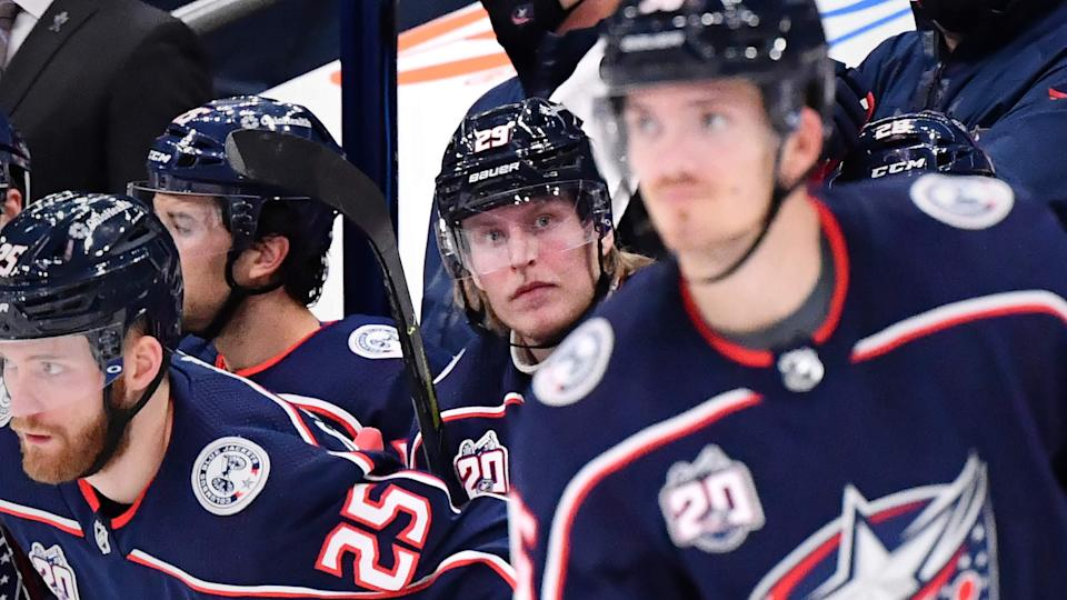 COLUMBUS, OH - FEBRUARY 8: Patrik Laine #29 of the Columbus Blue Jackets sits on the bench in the third period of a game against the Carolina Hurricanes on February 8, 2021 at Nationwide Arena in Columbus, Ohio.  (Photo by Jamie Sabau/NHLI via Getty Images)