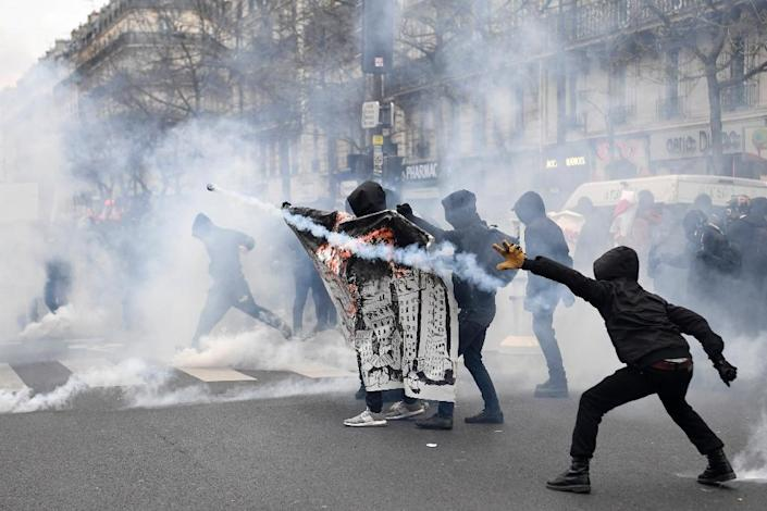 """Thousands of protesters marched against """"police brutality"""" in Paris, weeks after the alleged rape of a black youth with a police baton (AFP Photo/CHRISTOPHE SIMON)"""