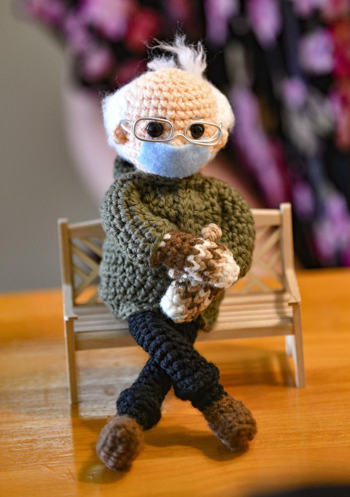 Crochet Bernie Sanders doll made by Tobey King of Texas