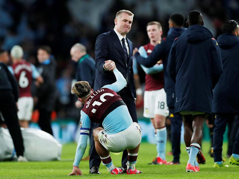 Aston Villa manager Dean Smith pulls up captain Jack Grealish: Reuters