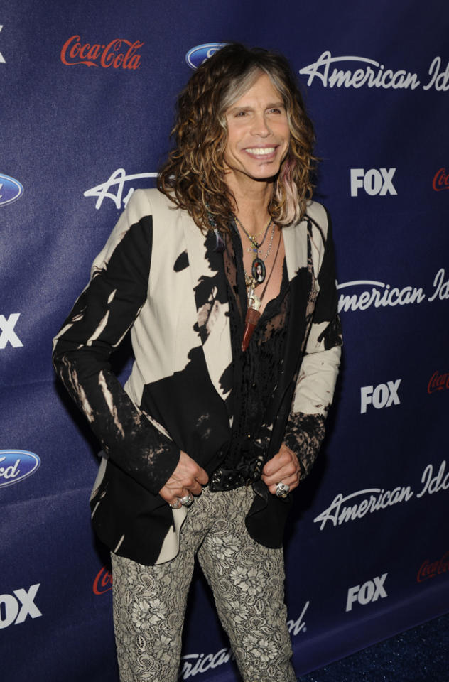 """Steven Tyler attends the Season 11 """"<a href=""""http://tv.yahoo.com/american-idol/show/34934"""">American Idol</a>"""" Top 13 Finalists Party on Thursday, March 1 at The Grove in Los Angeles, CA."""