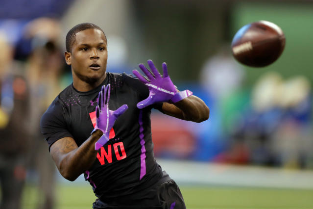 FILE - In this March 3, 2018, file photo, Florida wide receiver Antonio Callaway runs a drill at the NFL football scouting combine in Indianapolis. A person with knowledge of the situation says Callaway failed a drug test at the NFL combine, a mistake that could damage his draft status. The person says NFL teams were made aware of the result Tuesday, April 24. The person spoke to The Associated Press on the condition of anonymity because the league does not release that information publicly. NFL Network first reported Callaway's failed test. (AP Photo/Michael Conroy, File)