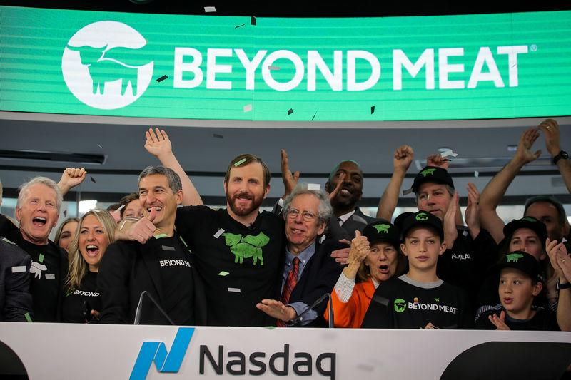 Ethan Brown, founder and CEO, Beyond Meat, and guests ring the opening bell to celebrate his company's IPO at the Nasdaq Market site in New York