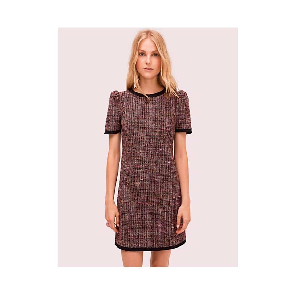 "$398, Kate Spade. <a href=""https://www.katespade.com/products/puff-sleeve-tweed-dress/NJMUA752.html"">Get it now!</a>"