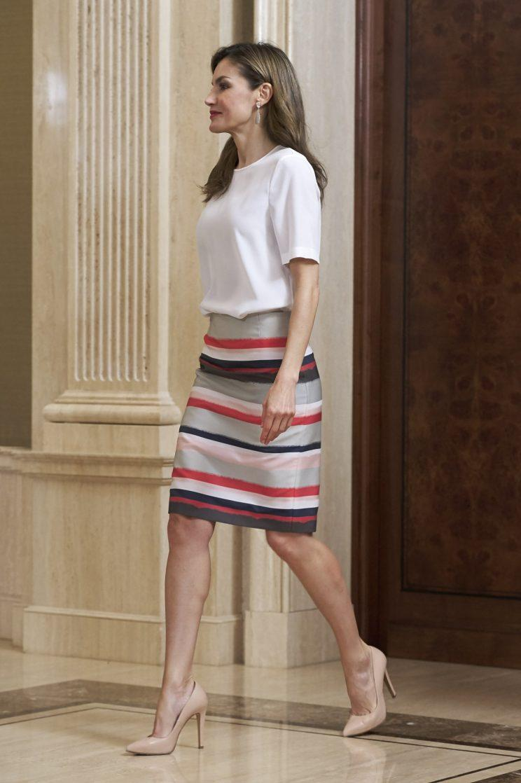 Queen Letizia is renowned for her modern sense of style. (Photo: Getty)