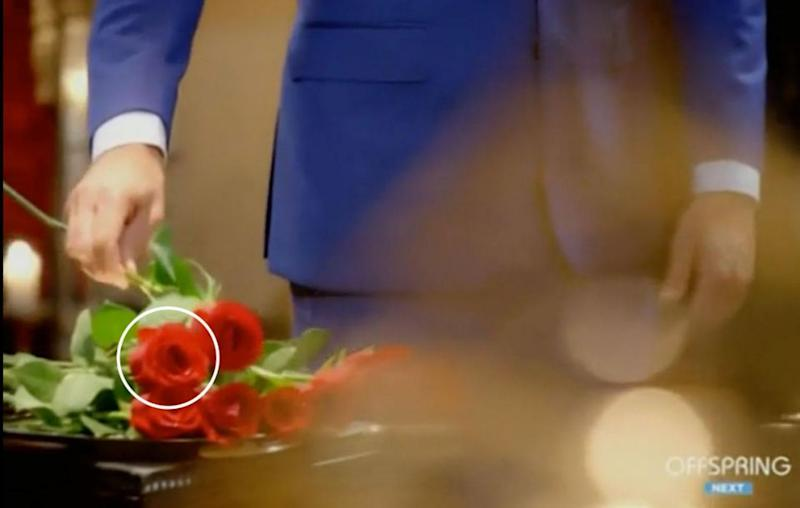 Watch that rose! A closer look reveals that one of the thorny blooms laid on the silver platter just happens to move even before Matty puts down a rose. Source: Channel Ten