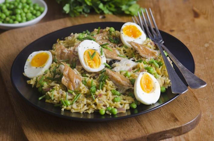 kedgeree rice dish with boiled eggs