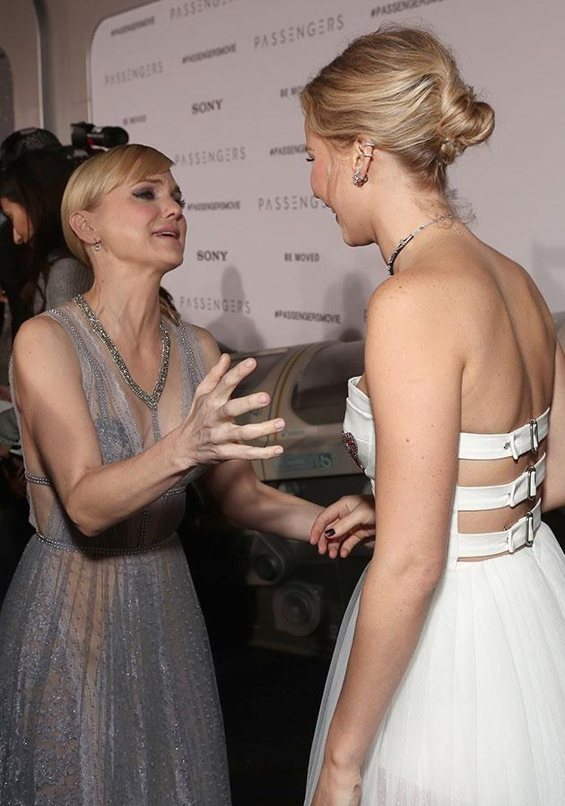 The actresses appeared awkward with each other. Source: Getty