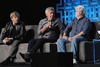 <p>Mark Hamill, Harrison Ford, George Lucas (Photo: Gerardo Mora/Getty Images) </p>