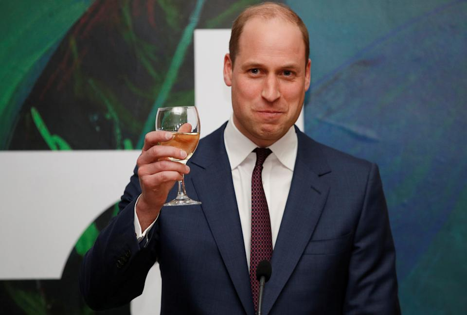 Britain's Prince William rises his glass as he and his wife Catherine, Duchess of Cambridge, attend a reception held by Irish Tanaiste (Deputy Prime Minister) Simon Coveney in Dublin, Ireland March 4, 2020. REUTERS/Phil Noble/Pool