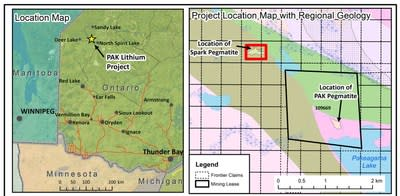 Spark Pegmatite location on the PAK Lithium Project on the Electric Avenue (CNW Group/Frontier Lithium Inc.)