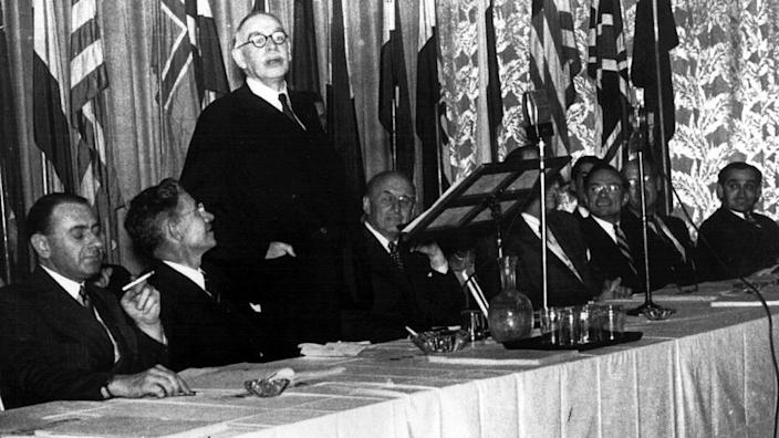 There was much optimism that the world would become a better place after World War Two, with the Bretton Woods conference, pictured, aiming to ensure a fairer economic order