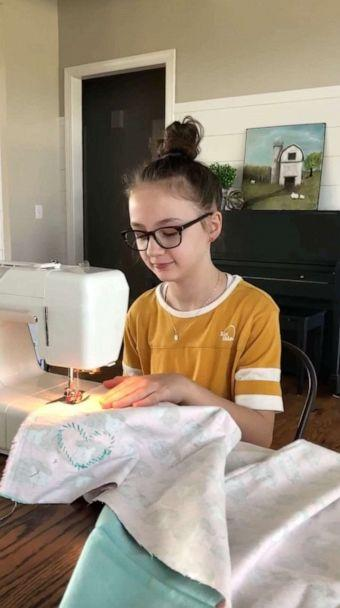 PHOTO: Lucy Blaylock, 11, sews blankets and masks for kids in need from home in Gallatin, Tenn. (Veronica Blaylock)
