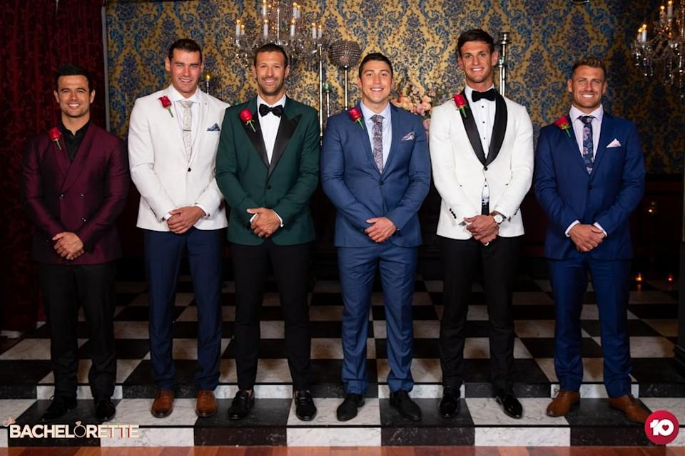 Bachelorette Elly Miles has sparked outrage after sending fan favourite Adam Todd (second from left) home. Photo: Channel 10.