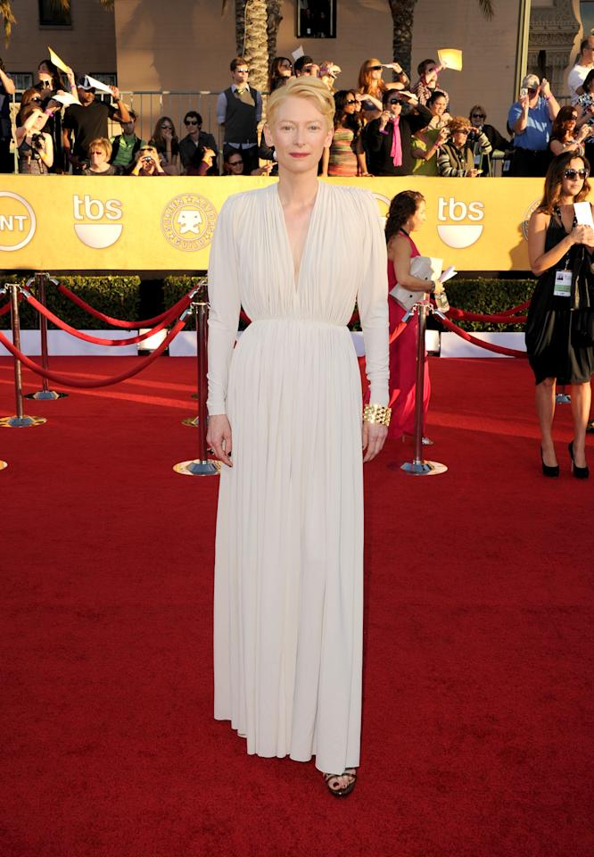 LOS ANGELES, CA - JANUARY 29:  Actress Tilda Swinton arrives at the 18th Annual Screen Actors Guild Awards at The Shrine Auditorium on January 29, 2012 in Los Angeles, California.  (Photo by Jason Merritt/Getty Images)