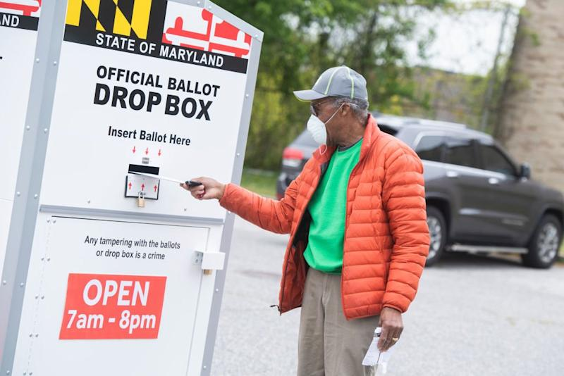 Man posts mail-in ballot in Maryland