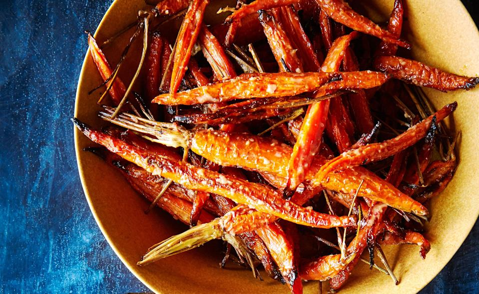 """<a href=""""https://www.bonappetit.com/recipe/roasted-carrots-with-creamy-nuoc-cham-dressing?mbid=synd_yahoo_rss"""" rel=""""nofollow noopener"""" target=""""_blank"""" data-ylk=""""slk:See recipe."""" class=""""link rapid-noclick-resp"""">See recipe.</a>"""