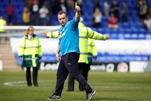 "Soccer Football - National League Play-Off Semi Final - Tranmere Rovers vs Ebbsfleet United - Prenton Park, Birkenhead, Britain - May 5, 2018 Tranmere Rovers manager Micky Mellon celebrates after the match Action Images/Craig Brough EDITORIAL USE ONLY. No use with unauthorized audio, video, data, fixture lists, club/league logos or ""live"" services. Online in-match use limited to 75 images, no video emulation. No use in betting, games or single club/league/player publications. Please contact your account representative for further details."