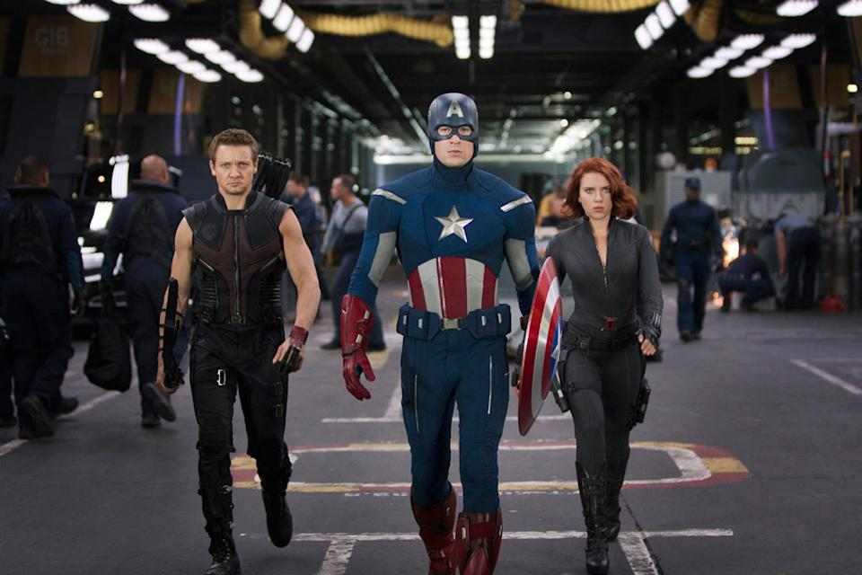 """Jeremy Renner as Hawkeye, Chris Evans as Captain America and Scarlett Johansson as Black Widow in Marvel's <a href=""""http://movies.yahoo.com/movie/the-avengers-2012/"""" data-ylk=""""slk:The Avengers"""" class=""""link rapid-noclick-resp"""">The Avengers</a> - 2012"""