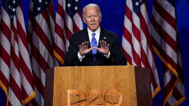 PHOTO: Former Vice President Joe Biden accepts the 2020 Democratic presidential nomination during a speech delivered for the largely virtual 2020 Democratic National Convention from the Chase Center in Wilmington, Del., Aug. 20, 2020. (Kevin Lamarque/Reuters)
