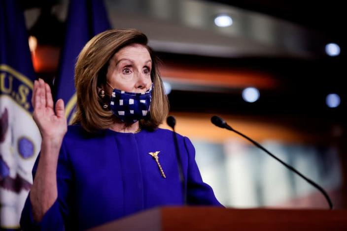 FILE PHOTO: House Speaker Nancy Pelosi introduces legislation in a news conference on Capitol Hill in Washington in October 2020