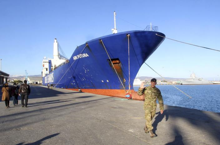 One of two cargo ships intended to take part in a Danish-Norwegian mission to transport chemical agents out of Syria docks in Limassol, December 14, 2013. A Danish-led task force was being readied in Cyprus on Saturday to remove the first part of Syria's deadly chemical stockpile, due before the end of this year. Under a deal worked out between the United States and Russia, Syria will relinquish control of deadly toxins which can be used to make sarin, VX gas and other lethal agents. Denmark and Norway plan to use two cargo vessels to transport the cargo out of the Syrian port city of Latakia, escorted by two frigates of their respective navies, and deliver it to the Organisation for the Prohibition of Chemical Weapons (OPCW) for destruction. REUTERS/Andreas Manolis (CYPRUS - Tags: MILITARY POLITICS)