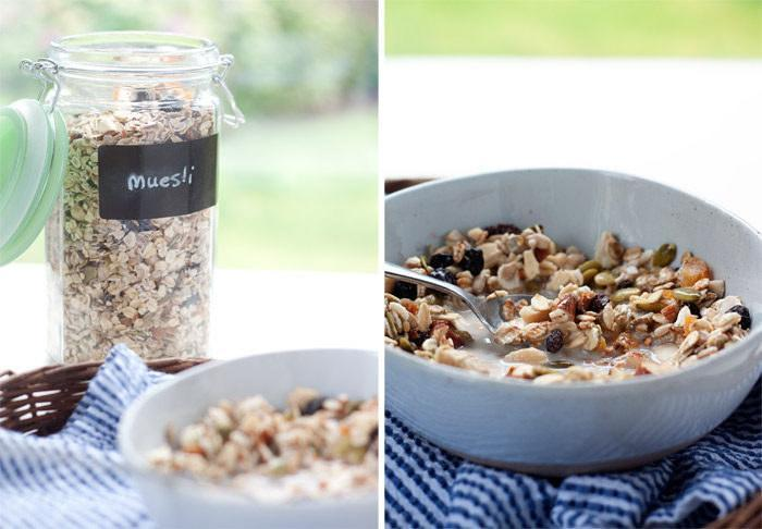 Muesli in a jar on left, in a bowl on right.