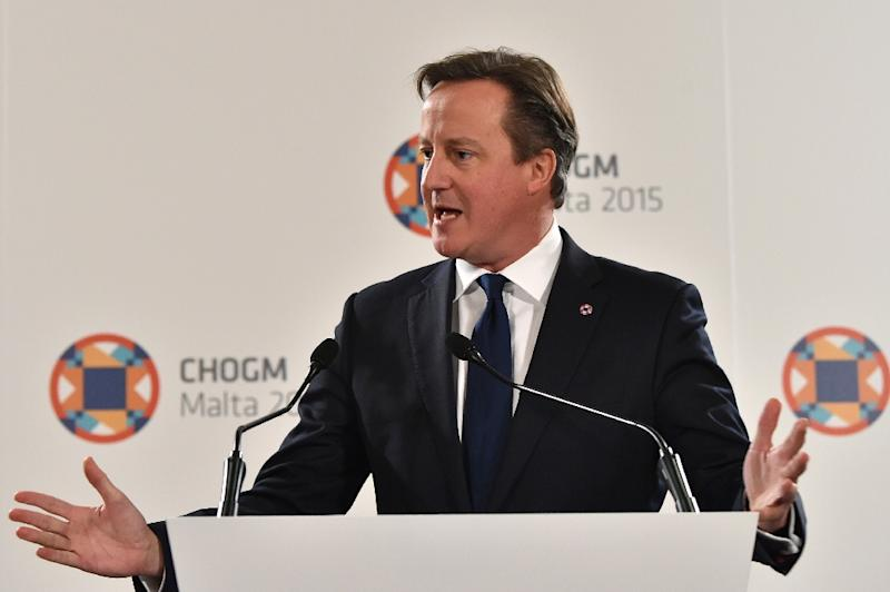 British Prime Minister James Cameron gives a press conference during the Commonwealth Heads of Government Meeting (CHOGM) in Malta on November 28, 2015 (AFP Photo/Alberto Pizzoli)