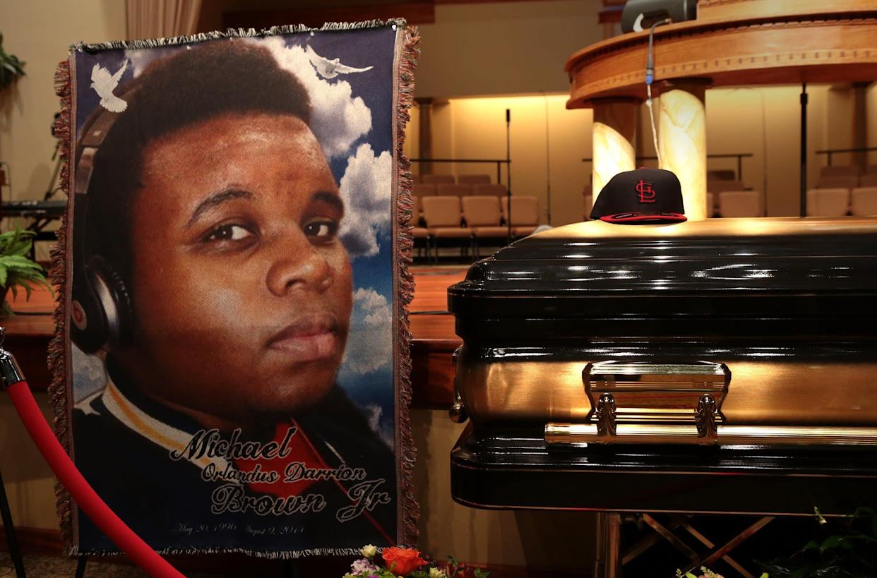The casket of Michael Brown sits inside Friendly Temple Missionary Baptist Church awaiting the start of his funeral on Aug. 25, 2014, in St. Louis. (Photo: Pool via Getty Images)