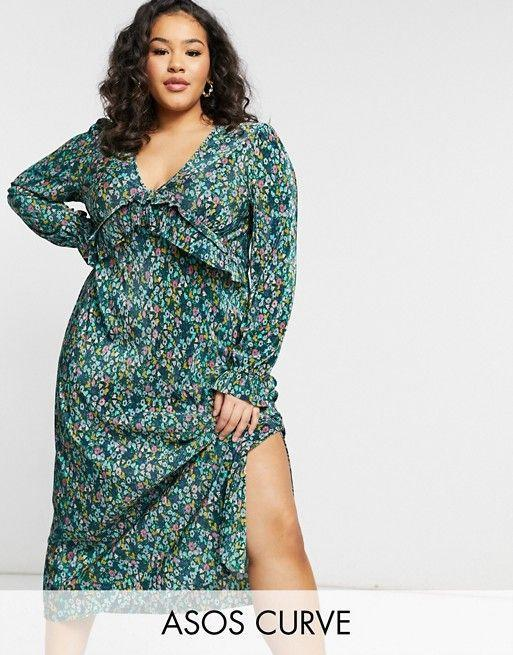 """<p><strong>ASOS Design Curve</strong></p><p>us.asos.com</p><p><strong>$56.00</strong></p><p><a href=""""https://go.redirectingat.com?id=74968X1596630&url=https%3A%2F%2Fwww.asos.com%2Fus%2Fasos-curve%2Fasos-design-curve-v-neck-midi-plisse-dress-in-green-and-blue-floral-print%2Fprd%2F21688577&sref=https%3A%2F%2Fwww.oprahmag.com%2Fstyle%2Fg25858020%2Fcute-spring-dresses%2F"""" rel=""""nofollow noopener"""" target=""""_blank"""" data-ylk=""""slk:Shop Now"""" class=""""link rapid-noclick-resp"""">Shop Now</a></p><p>Welcome spring with sweet multicolor florals. A deep v-neck and ruffly detail at the bust (not to mention the side slit) flatter the figure.</p>"""