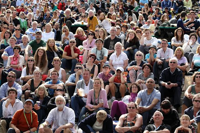 LONDON, ENGLAND - JULY 04: A general view of the crowd on Murray Mount on day nine of the Wimbledon Lawn Tennis Championships at the All England Lawn Tennis and Croquet Club on July 4, 2012 in London, England. (Photo by Dan Kitwood/Getty Images)
