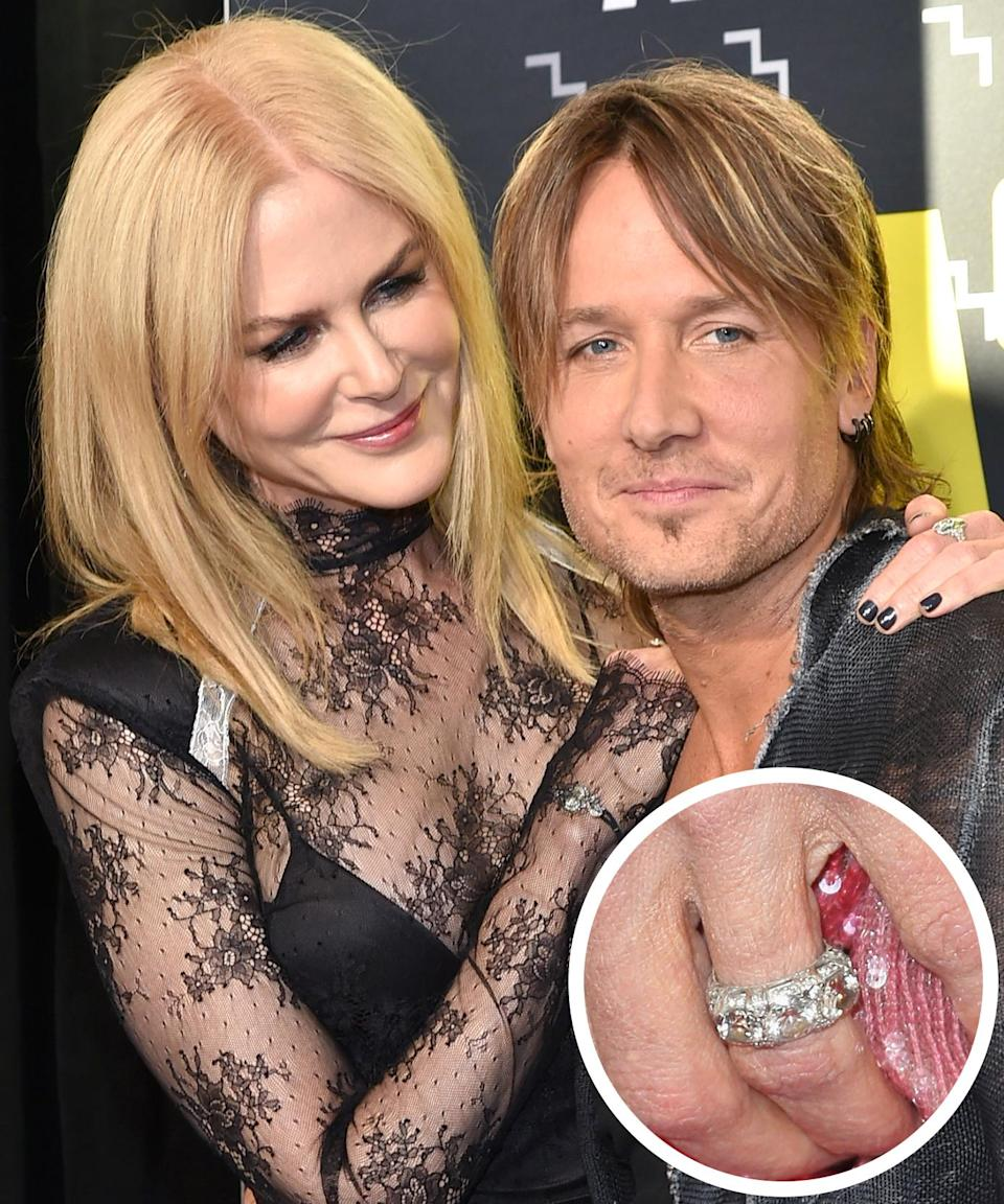 <p>Nicole Kidman's Cartier ring has multiple diamond solitaires. The couple wed in the summer of 2006 in a low-profile ceremony in Sydney. </p>