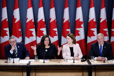 (L-R) Canada's Public Safety Minister Ralph Goodale, Justice Minister Jody Wilson-Raybould, Health Minister Jane Philpott and Bill Blair, the government's point man on the legalised marijuana file, take part in a news conference in Ottawa, Ontario, Canada, April 13, 2017. REUTERS/Chris Wattie