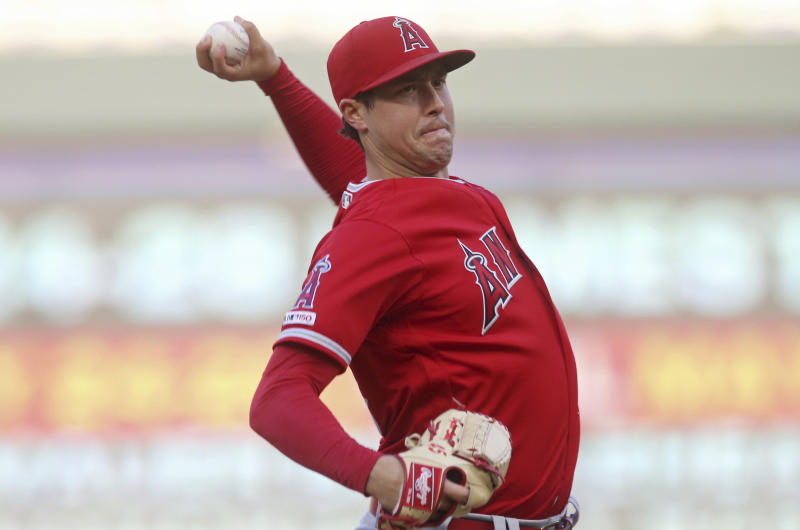 Los Angeles Angels pitcher Tyler Skaggs throws against the Minnesota Twins in the first inning of a baseball game Monday, May 13, 2019, in Minneapolis. (AP Photo/Jim Mone)