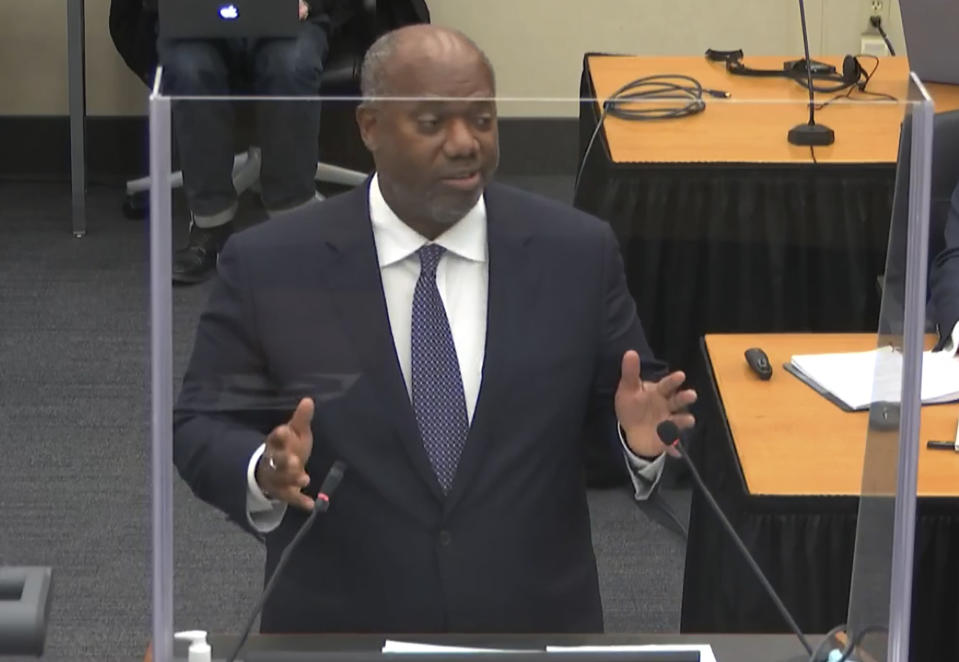 In this image from video, prosecutor Jerry Blackwell, gives a rebuttal during closing arguments as Hennepin County Judge Peter Cahill presides Monday, April 19, 2021, in the trial of former Minneapolis police Officer Derek Chauvin, in the May 25, 2020, death of George Floyd at the Hennepin County Courthouse in Minneapolis, Minn. (Court TV via AP, Pool)