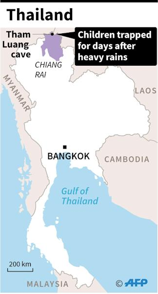 Map of Thailand locating a cave where school children have been trapped for days. (AFP Photo/Gal ROMA)