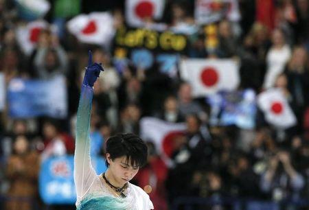 Figure Skating - ISU World Championships 2017 - Men's Free Skating - Helsinki, Finland - 1/4/17 - Yuzuru Hanyu of Japan gestures. REUTERS/Grigory Dukor