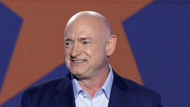 PHOTO: Democratic Senate candidate Mark Kelly speaks at an election campaign party in Tucson, Arizona, Nov. 3, 2020. (Cheney Orr/Reuters)