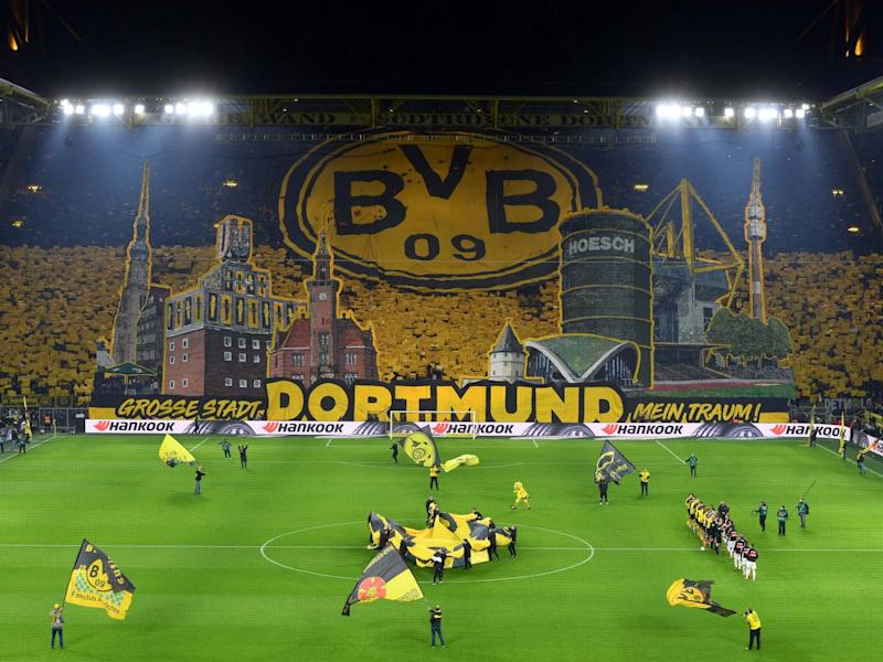 A general view of the south stand with a Dortmund fan choreography: Bongarts/Getty Images