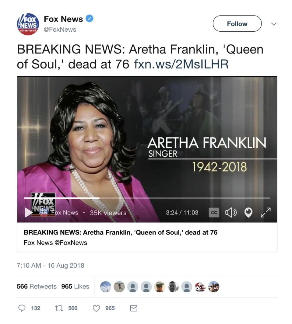 Fox News makes error in Aretha Franklin tribute. (Photo: Twitter)