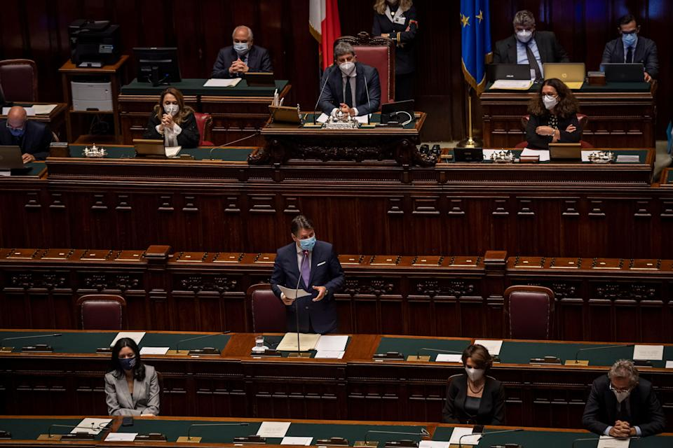 ROME, ITALY - OCTOBER 22: Italian Prime Minister Giuseppe Conte wearing a protective mask delivers his speech during the informative debate about further initiatives adopted by Italian government related to the Covid-19 epidemiological emergency at the Camera dei Deputati (Chamber of Deputies, on October 22, 2020 in Rome, Italy. Today Italian Prime Minister Giuseppe Conte told the Chamber of Deputies (Camera dei Deputati) that the government is ready to take further action amid the increase of COVID-19 infections in Italy. (Photo by Antonio Masiello/Getty Images) (Photo: Antonio Masiello via Getty Images)