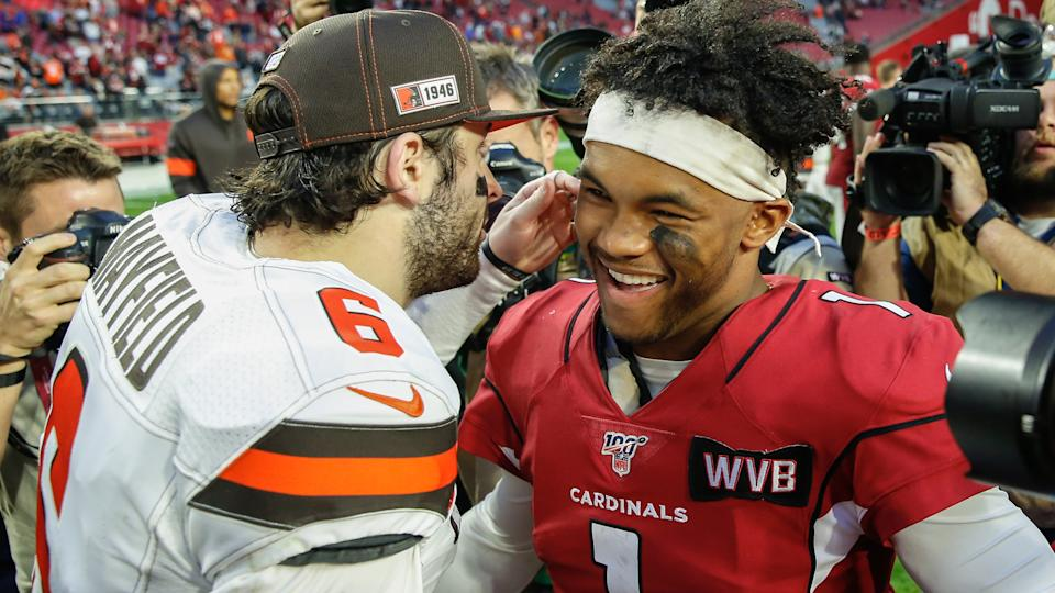 GLENDALE, AZ - DECEMBER 15:  Cleveland Browns quarterback Baker Mayfield (6) and Arizona Cardinals quarterback Kyler Murray (1) greet after the NFL football game between the Cleveland Browns and the Arizona Cardinals on December 15, 2019 at State Farm Stadium in Glendale, Arizona. (Photo by Kevin Abele/Icon Sportswire via Getty Images)