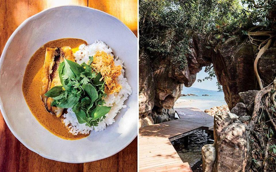 From left: Seared red snapper in Cambodian-style kuri sauce at Six Senses Krabey Island; boardwalks allow guests to walk the perimeter of Krabey Island.   Christopher Wise