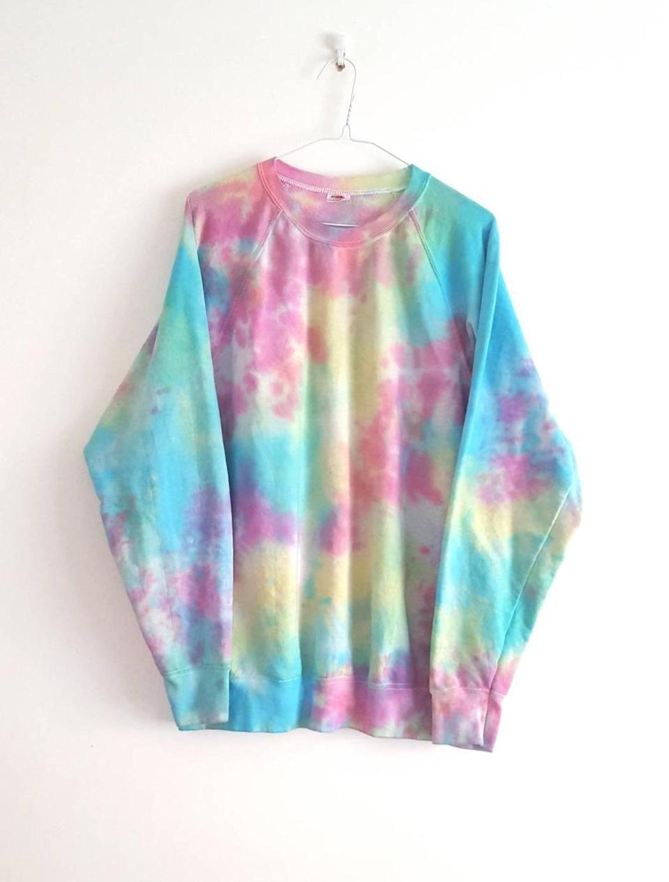 <p>Each piece looks a little different, but this <span>DyeHardApparelUK Tie-Dye Sweatshirt</span> ($39) arrived just as vibrant as the photo.</p>