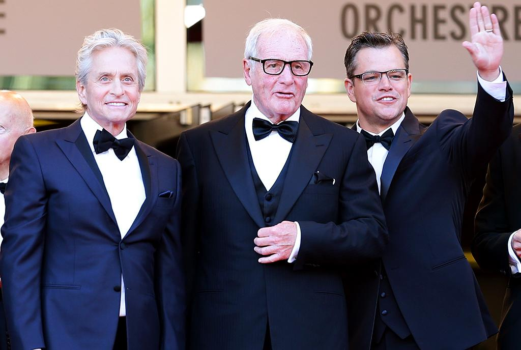 CANNES, FRANCE - MAY 21:  (L-R) Actor Michael Douglas, producer Jerry Weintraub and actor Matt Damon attend the 'Behind The Candelabra' premiere during The 66th Annual Cannes Film Festival at Theatre Lumiere on May 21, 2013 in Cannes, France.  (Photo by Vittorio Zunino Celotto/Getty Images)