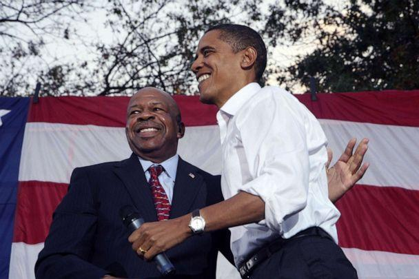 PHOTO: Rep. Elijah Cummings welcomes Senator and Presidential candidate Barack Obama to the stage as he addresses thousands of supporters on the campus of Prince George's Community College. (The Washington Post via Getty Images, FILE)