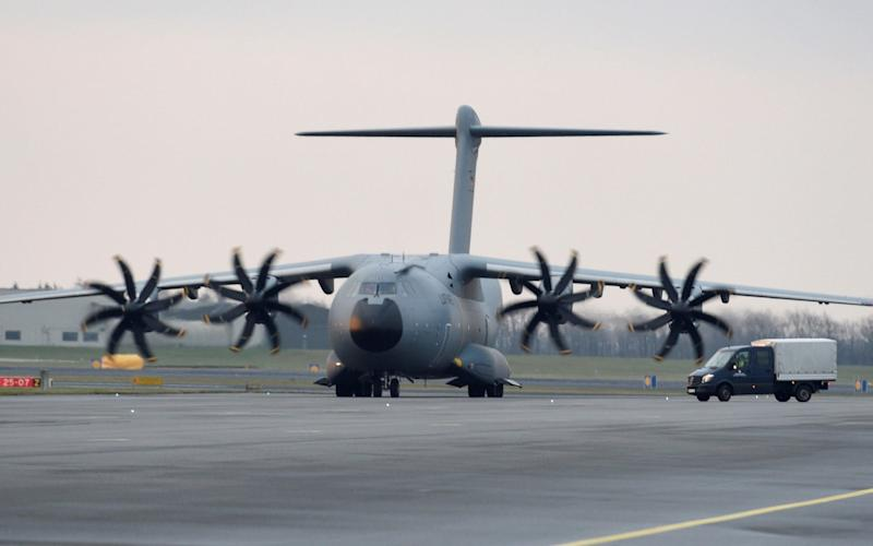 A German airforce Airbus A400M military refuelling aircraft taxis along the runway at a German army Bundeswehr airbase  - REUTERS