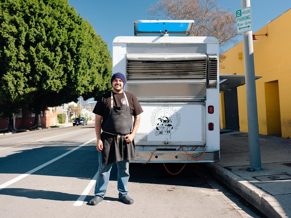 Carlos Jaquez, formerly a cook at Bestia, on Jan. 30, 2021, who started his birria business Birria Pa La Cruda, as a weekend pop-up out of his family's home in the El Sereno neighborhood of Los Angeles.  With infinite variations, birria, the regional Mexican stew is now a social-media star in Los Angeles and beyond. (Rozette Rago/The New York Times)