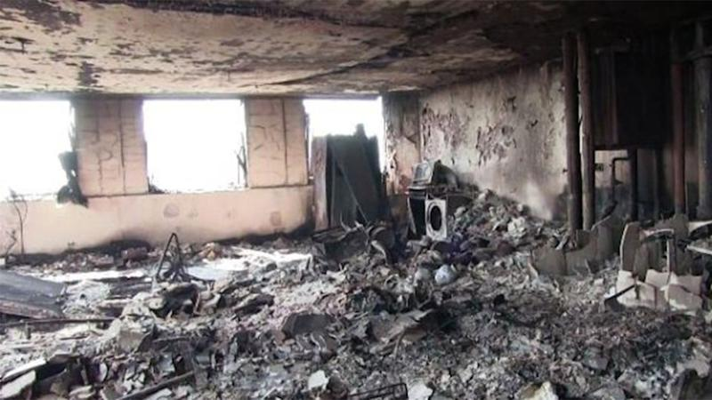 New images show the charred ruins inside the Grenfell Tower. Picture: Met Police